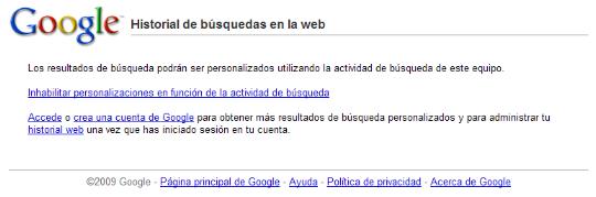 Desactivar el historial de búsqueda de Google