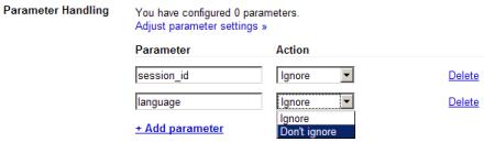 Configuración de parámetros en el Webmaster Tools