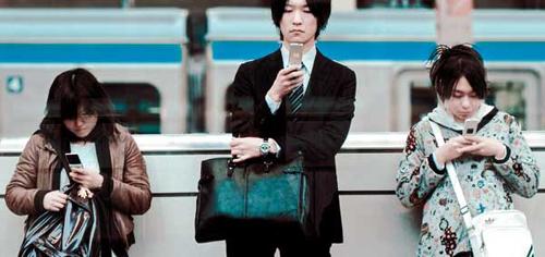 Uso moviles Japón metro